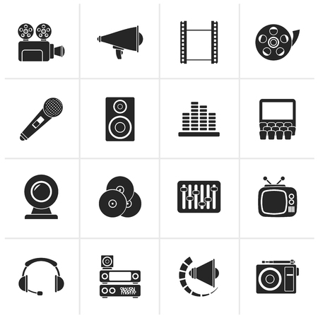 headset: Black Audio and video icons - vector icon set Illustration