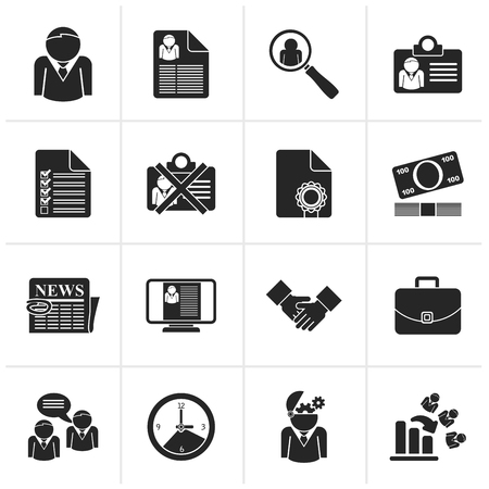 jobs: Black Employment and jobs icons - vector icon set