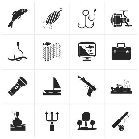 pesca: Iconos de la industria de la pesca Negro - Vector Icon Set