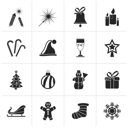 snowflakes: Black Christmas and new year icons - vector icon set