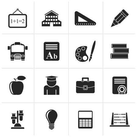 lore: Black school and education icons - vector icon set