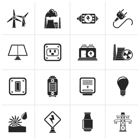 Black electricity, power and energy icons - vector icon set
