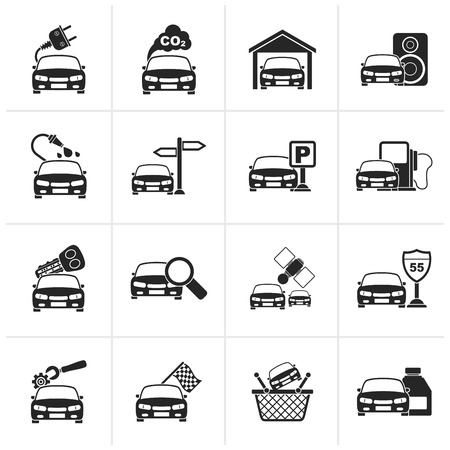 Black Car and road services icons - vector icon set Illustration