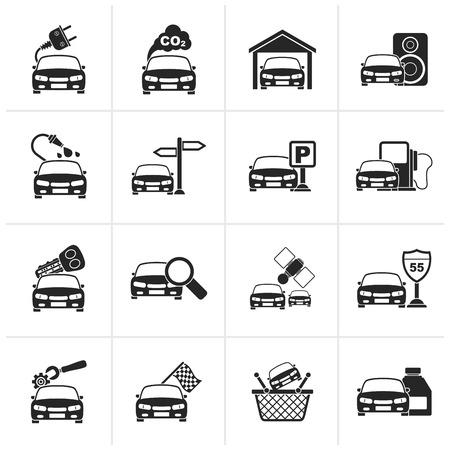 Zwarte auto en de weg iconen - vector icon set Stock Illustratie