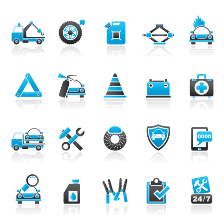 De asistencia y remolque de carretera iconos - conjunto de iconos del vector