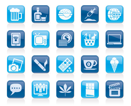 heroin: different types of Addictions icons - vector icon set