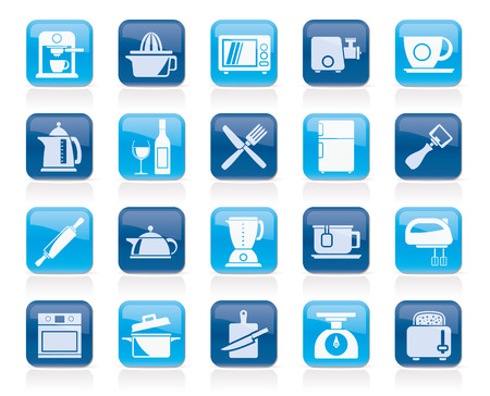 objects equipment: Kitchenware objects and equipment icons - vector icon set