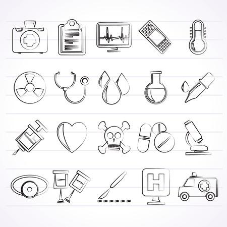 egészségügyi ellátás: medical tools and health care equipment icons  - vector icon set