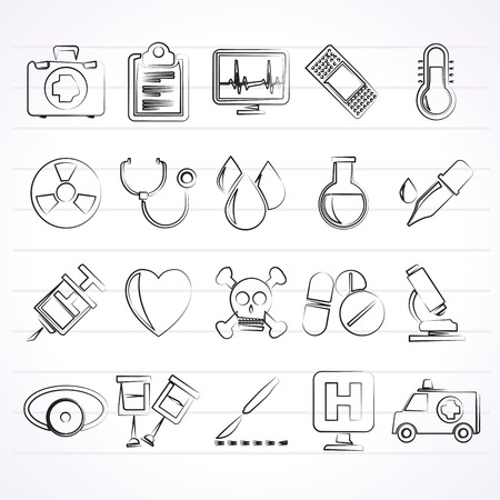 medical equipment: medical tools and health care equipment icons  - vector icon set