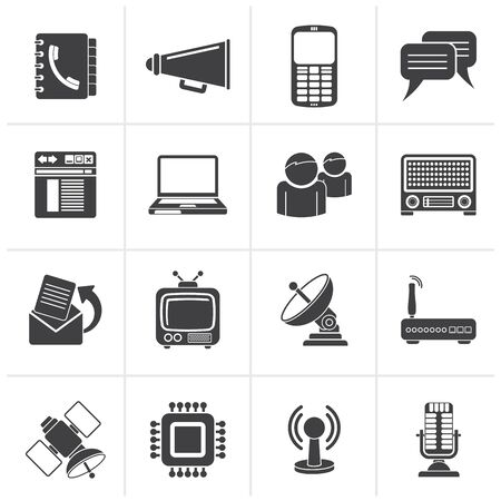 communication icons: Black Communication, connection  and technology icons - vector icon set Illustration