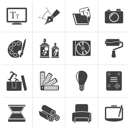 brush paint: Black Graphic and website design icons - vector icon set