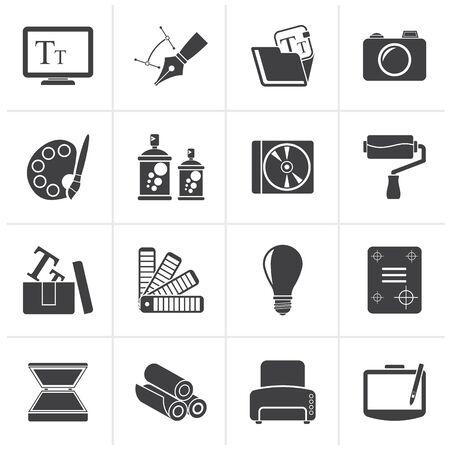 icono computadora: Gráfico negro y el sitio Web de diseño - conjunto de iconos vectoriales