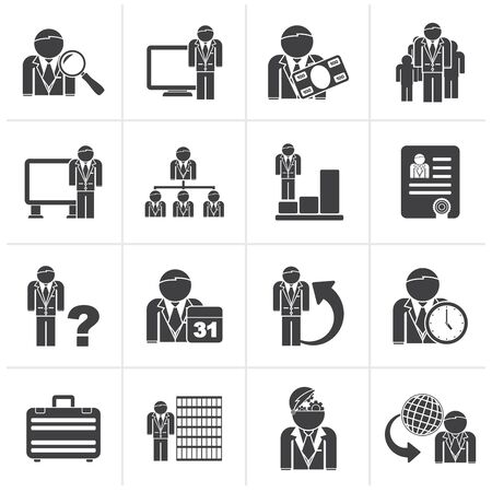hierarchy: Black Business, management and hierarchy icons - vector icon set