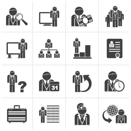 jerarquia: Negro de negocios, de gestión y de jerarquía iconos - conjunto de iconos vectoriales