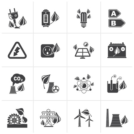 power icon: Black Green energy and environment icons - vector icon set Illustration