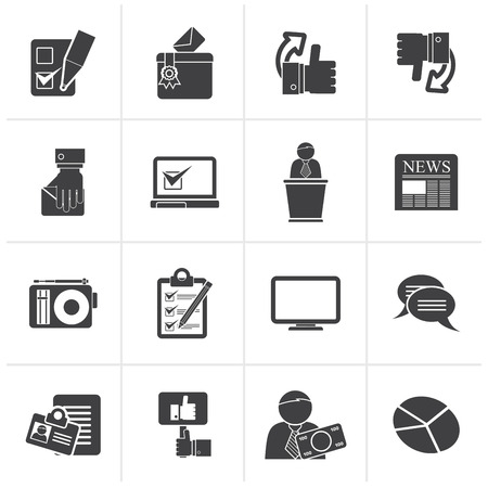 Black Voting and elections icons - vector icon set Çizim