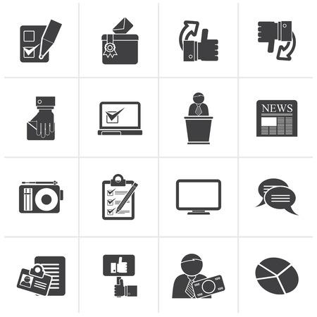 monitor de computadora: Negro votaciones y elecciones iconos - conjunto de iconos vectoriales