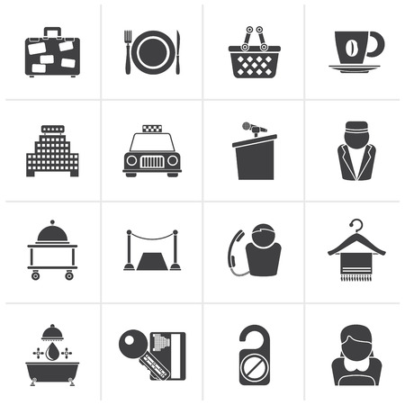 piccolo: Black Hotel and motel services icons - vector icon set