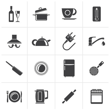 slotted: Black kitchen objects and accessories icons- vector icon set