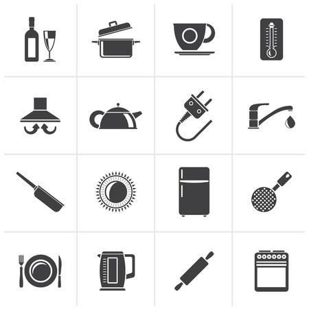 Oggetti Da Cucina Neri E Accessori Icons- Vector Icon Set Clipart ...