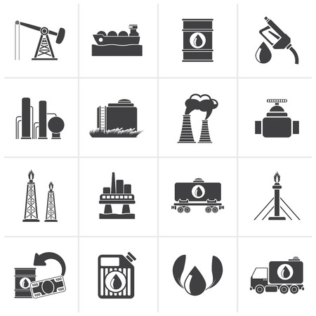 power icon: Black Petrol and oil industry icons - vector icon set