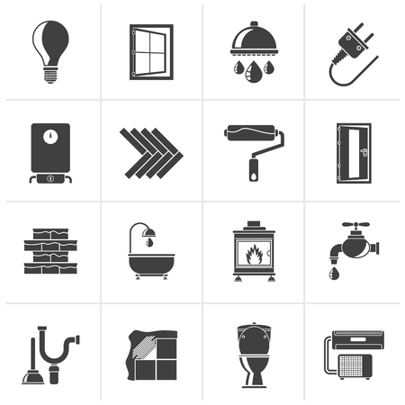 home renovation: Black Construction and home renovation icons - vector icon set