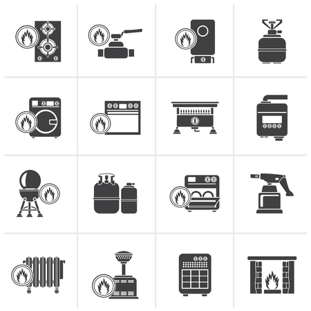 furnace: Black Household Gas Appliances icons - vector icon set