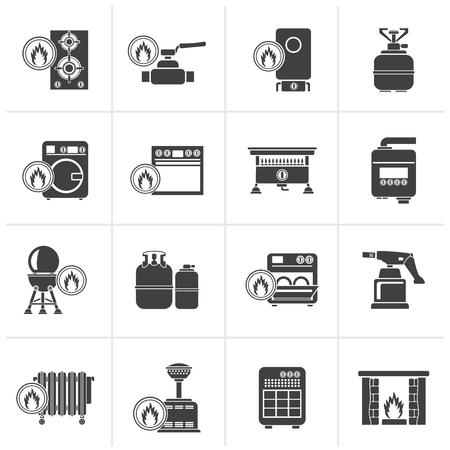 simbolo: Nero domestica di gas icone - Vector Icon Set