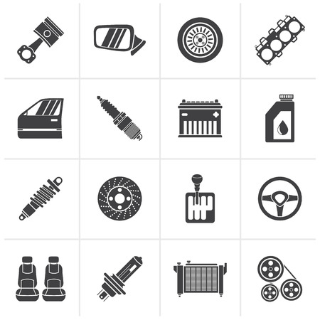car part: Black Detailed car parts icons - vector icon set Illustration
