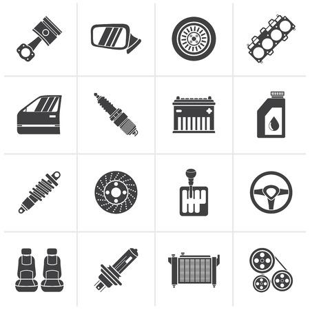 frenos: Negro detalladas de automóviles piezas iconos - Vector Icon Set