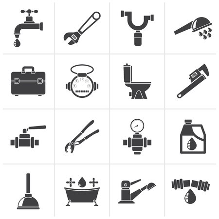 water damage: Black plumbing objects and tools icons - vector icon set