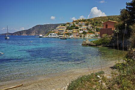 cefallonia: View of Assos village and beautiful sea bay, Kefalonia, Ionian islands, Greece Stock Photo