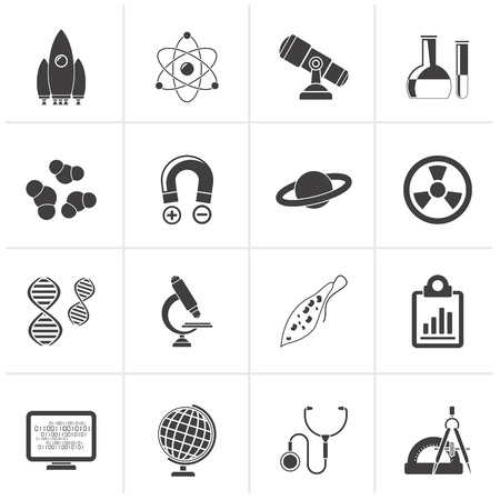 spaceship: Black Science, Research and Education Icons - Vector Icon set