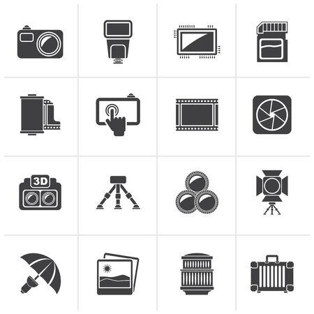 photography icon: Black Photography equipment icons - vector icon set