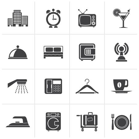 Black Hotel, motel and travel icons - vector icon set