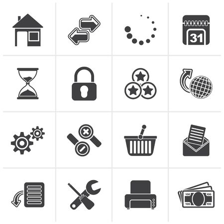 security symbol: Black Web Site and Internet icons - vector icon set