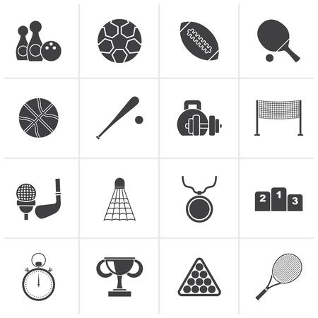 sport equipment: Black Sport equipment icons - vector icon set Illustration