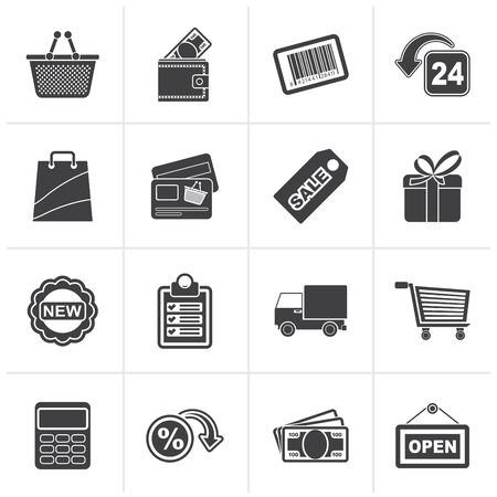 retail shopping: Black shopping and retail icons - vector icon set Illustration