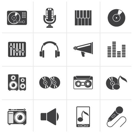 Black Music and audio equipment icons - vector icon set Vektorové ilustrace