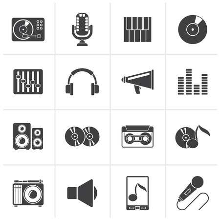 Black Music and audio equipment icons - vector icon set