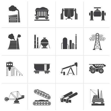 transmission line: Black Heavy industry icons - vector icon set