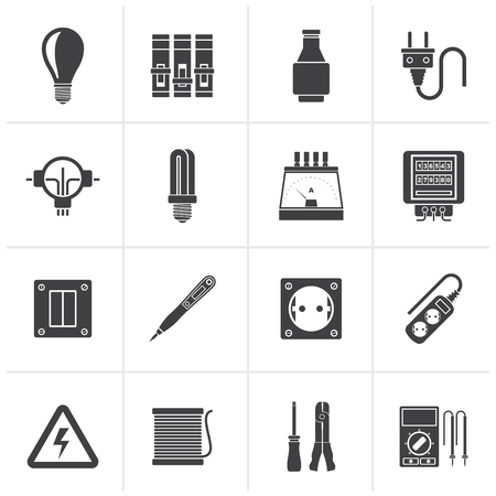 power distribution: Black Electrical devices and equipment icons - vector icon set Illustration