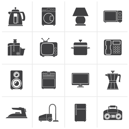 hoover: Black home equipment icons - vector icon set