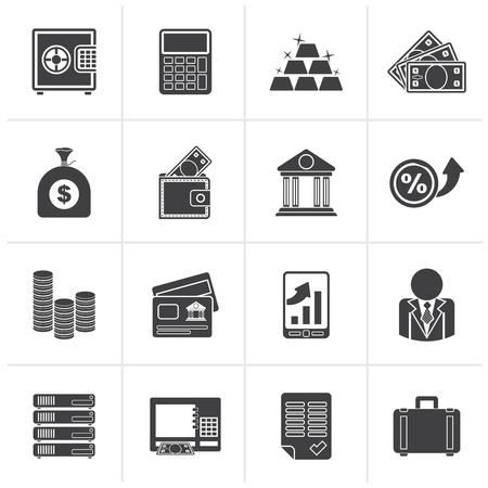 검은 은행 및 금융 아이콘 - 벡터 아이콘 세트