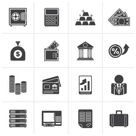 finance icons: Black Bank and Finance Icons - Vector Icon Set Illustration