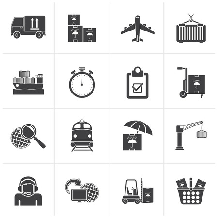 retail store: Black Cargo, shipping and logistic icons - vector icon set Illustration