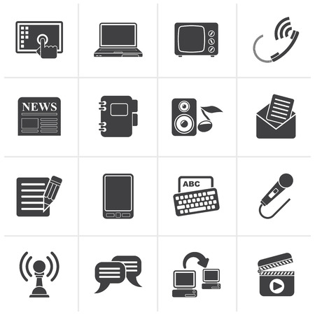 communication icons: Black Communication and connection icons - vector icon set