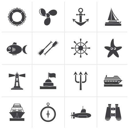 ferry boat: Black Marine and sea icons - vector icon set