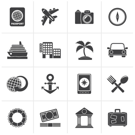 car bills: Black Tourism and Travel Icons - vector icon set