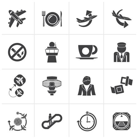 plane vector: Black Aircraft, airport and Plane Icons - vector icon set Illustration